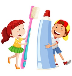 Boy and girl with giant toothbrush and paste vector image vector image