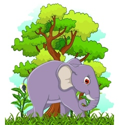 elephant cartoon with forest background vector image vector image