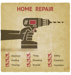 hand with drill home repair concept vector image vector image