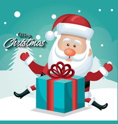 happy santa claus with big gift card merry vector image