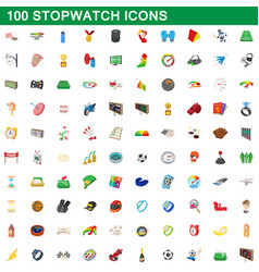 100 stopwatch icons set cartoon style vector image