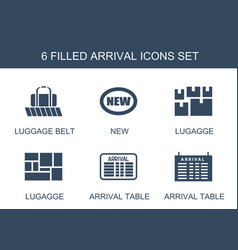 6 arrival icons vector