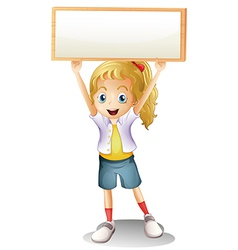 A girl carrying an empty signboard vector image