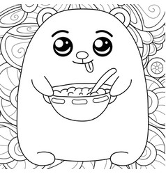 Adult coloring bookpage a kawaii bear on the vector