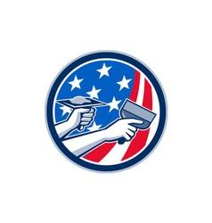 American Drywall Repair Service Flag Circle Retro vector