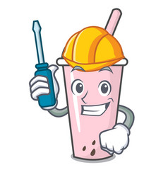 Automotive raspberry bubble tea character cartoon vector