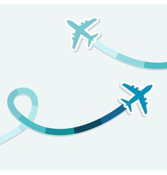 Background with two jets and colored trace them vector