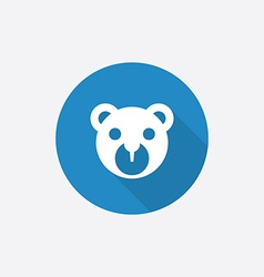 Bear toy Flat Blue Simple Icon with long shadow vector