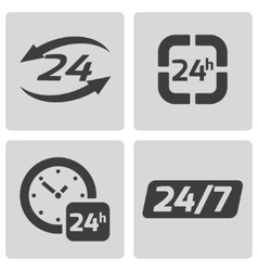 Black 24 hours icons set vector