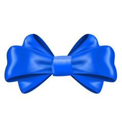 Blue silk ribbon bow decoration element vector