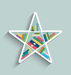 Bookshelf in form star with colorful books vector
