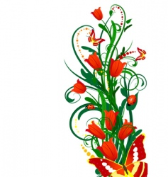 bouquet of tulips with butterflies vector image