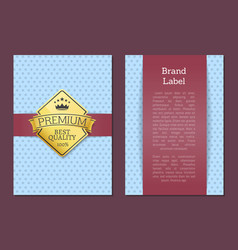 brand label premium quality best offer 100 poster vector image