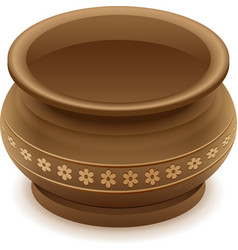 Brown empty clay ceramic pot vector image
