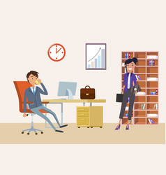 Business appointment man boss and woman client vector