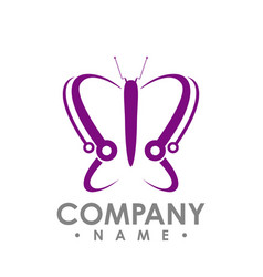 butterfly icon in modern flat style for web vector image