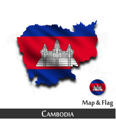 cambodia map and flag waving textile design vector image