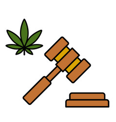 cannabis leaf and a judge gavel vector image
