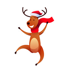 cheerful reindeer character in santa hat vector image