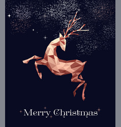 Christmas copper low poly deer greeting card vector