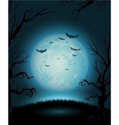 Creepy Halloween night poster full moon copy space vector image