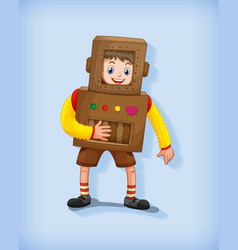 cute boy wearing robot costume in standing vector image