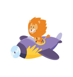 cute lion flying an airplane funny pilot flying vector image