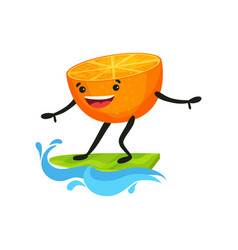 cute orange surfing on waves tropical humanized vector image