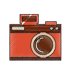 cute scribble camera cartoon vector image
