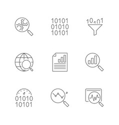 data analysis line icons on white background vector image