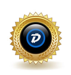 Digibyte cryptocurrency coin gold badge vector