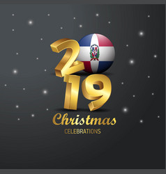 Dominican republic flag 2019 merry christmas vector