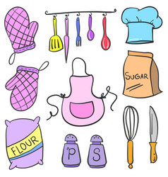 Doodle kitchen accessories set collection vector