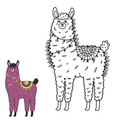 dot to dot game with funny llama vector image