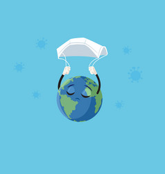 Earth saved medical face mask in covid-19 vector