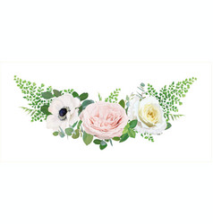 Editable floral bouquet white pink yellow flower vector