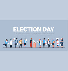 election day concept different occupations voters vector image