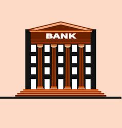 facade a bank building with gable and columns vector image