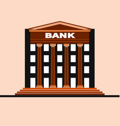 facade of a bank building with gable and columns vector image