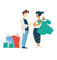 fashion shopping woman and stylist choosing dress vector image