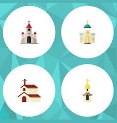 Flat icon church set of structure traditional vector