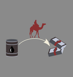 Flat icon on theme arabic business oil and camels vector