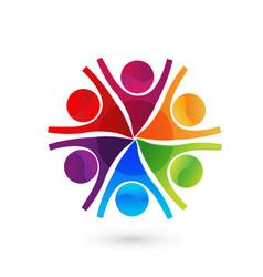 Friends teamwork group logo vector