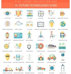 Future technology color flat icon set vector