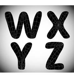 Halloween alphabet WXYZ vector image
