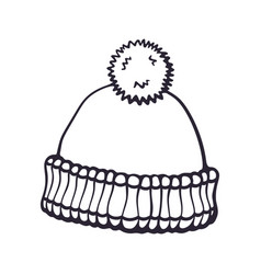 hand drawn doodle winter hat with pompon vector image