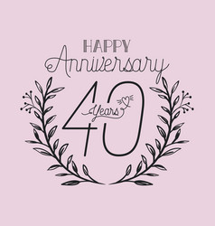 Happy anniversary number forty with wreath crown vector