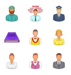 hard worker icons set cartoon style vector image