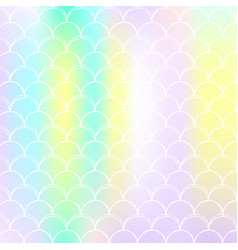 Holographic scale background with gradient mermaid vector
