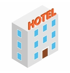 Hotel building isometric 3d icon vector